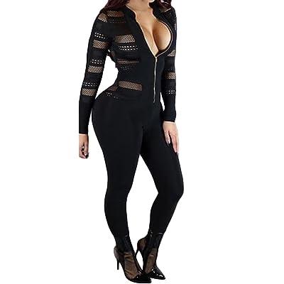 VamJump Women 2017 Autumn Long Sleeve High Neck Bodycon Tight Jumpsuits Romper