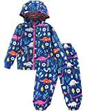 KISBINI Boys' Cartoon Dinosaurs Wind Jacket Raincoats and Rain Pant Set Navy 4T
