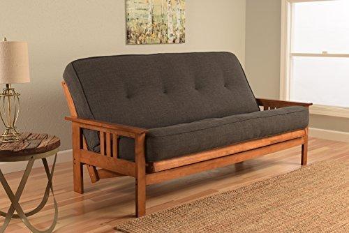 Kodiak Furniture KFMOBBLCHALF5MD3 Monterey Futon Set with Barbados Finish, Full, Linen CHARCOAL by Kodiak Furniture