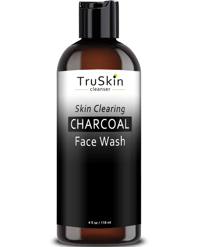 TruSkin Charcoal Face Wash, Anti Aging Facial Cleanser with Activated Coconut Charcoal, Reishi and Astragalus Root for Men and Women, 4 fl oz by TruSkin Naturals
