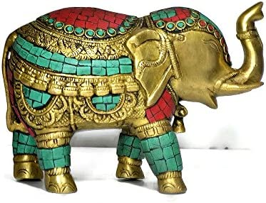 CraftVatika Thai Trunk up Elephant Figurine – Metal Brass Elephant with Turquoise Gemstones Handwork- Vintage Style Animal Collectible Home Decor Sculpture