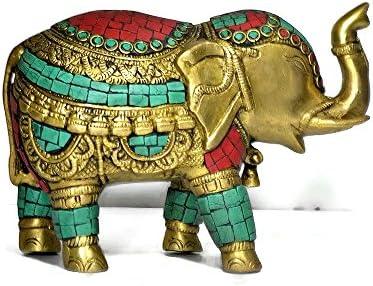 CraftVatika Thai Trunk up Elephant Figurine - Metal Brass Elephant with Turquoise Gemstones Handwork- Vintage Style Animal Collectible Home Decor Sculpture
