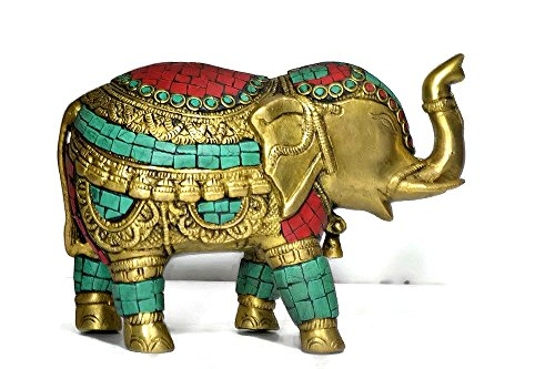 CraftVatika Thai Trunk up Elephant Figurine - Metal Brass Elephant with Turquoise Gemstones Handwork- Vintage Style Animal Collectible Home Decor Sculpture by CraftVatika