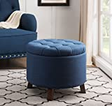 Sunjoy 120209003-N Luxuary Tufted Ottoman, One Size, Navy