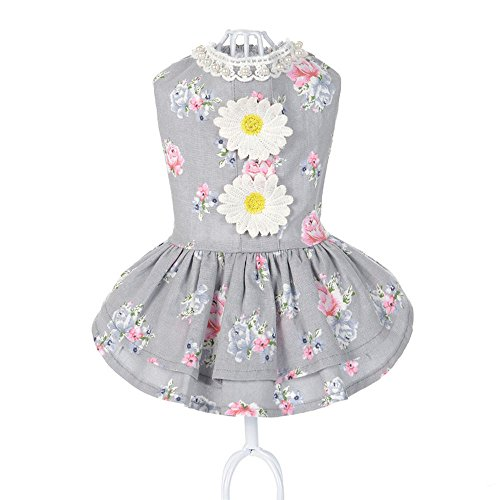 Spring Summer Print Pet Dog Cat Dress Easter bunny Tutu Party Dress pet clothes Floral Dog Harness Dress Vest Shirts Sundress Fashion Princess Suitable for large medium and small pets (gray, XL)