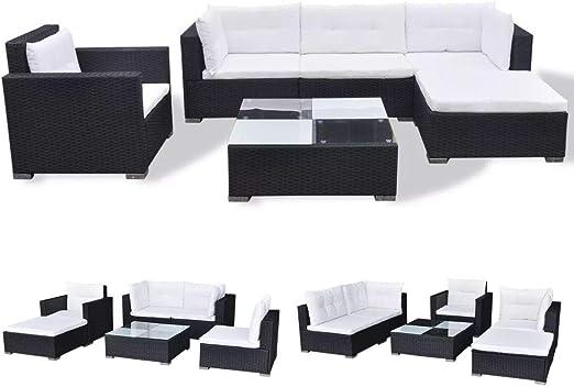FZYHFA Juego de sofás de jardín de 17 Piezas en polirratán Negro diseño Simple y práctico, Estable y Duradera Juego de sofás de Exterior Sofá de jardín: Amazon.es: Jardín