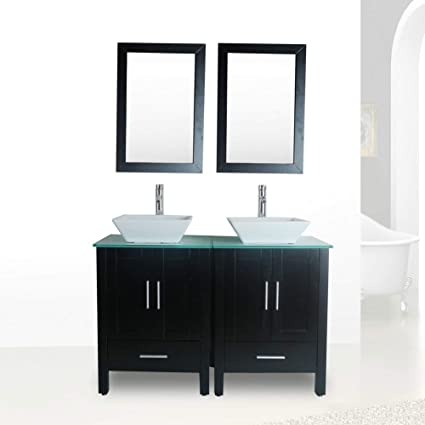 48 Double Sink Bathroom Vanity Combo Glass Top Black Paint Cabinet W Mirror Faucet And Drain Set