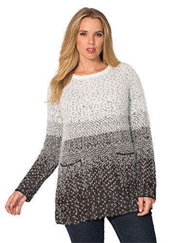 Women's Plus Size Ombre Dot Sweater – 1X, Ivory-Black