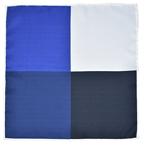 Kingsquare 100% Silk Check Pocket Square Hand Rolled with Gift Box (Blue/White)