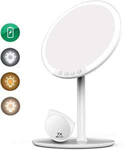 Volluck Lighted Makeup Mirror-LED Lights-with Bright Adjustable 3 Colors Lighting Modes Natural Daylight Touch Control Chassis Traveling Portable (white)