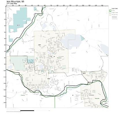Mountain Home Ar Zip Code Map.Amazon Com Zip Code Wall Map Of Iron Mountain Mi Zip Code Map