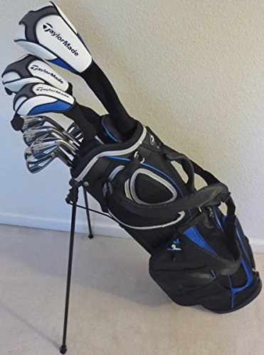 Mens TaylorMade Regular Flex Golf Set Driver, Fairway Wood, Hybrid, Irons, Putter Clubs Complete with Stand Bag Taylor Made