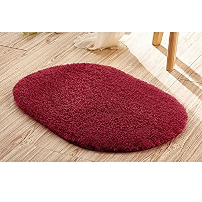 "Ladaidra Bath Mat, Non Slip Bottom Soft Comfortable Washable Cushion, 19.69"" x 11.81"", Wine Red"
