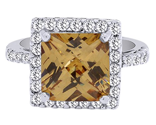 Wishrocks Radiant Cut Simulated Citrine & White CZ Sterling Silver Halo Ring