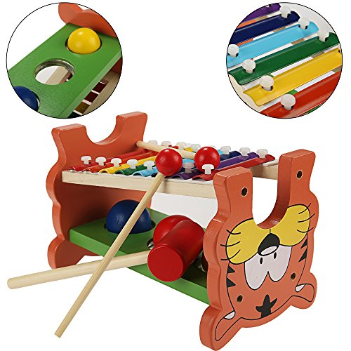 Funmily 2 in 1 Pound and Tap Bench with Slide Out Xylophone Wooden Music Toy for Kids by Funmily (Image #1)