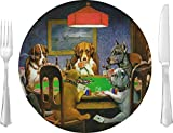 Dogs Playing Poker by C.M.Coolidge Glass Lunch/Dinner Plate 10''