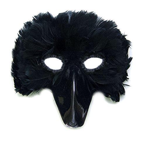 SACASUSA (TM) Black Feather Bird Mask with Black Beak Sequin Eyes Crow