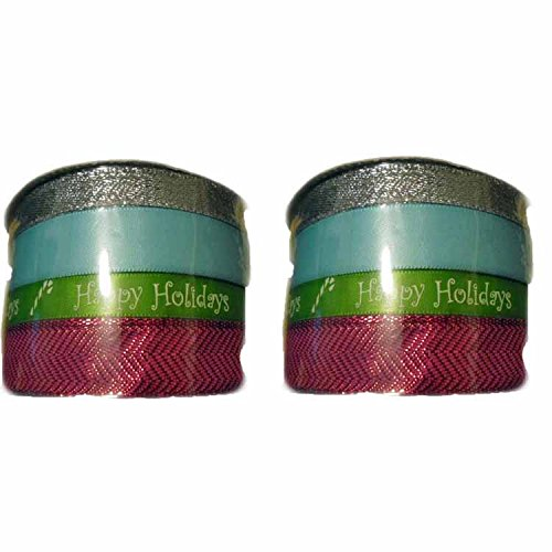 Set of  Holiday Christmas Spritz Fabric Ribbon 4 End X 40 Fe