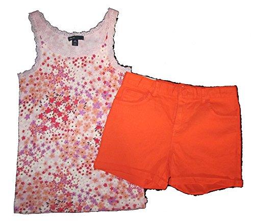 Gap Kids Classic Shorts (Gap Kids Girls Floral Tank Top & Bright Orange Classic Denim Shorts 14)