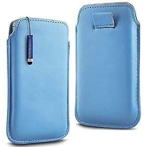 N4U Online - Motorola Moto G Prima Soft PU del tirón del cuero de la piel Caso Tire de la tabulación y Mini Stylus Pen - azul bebé