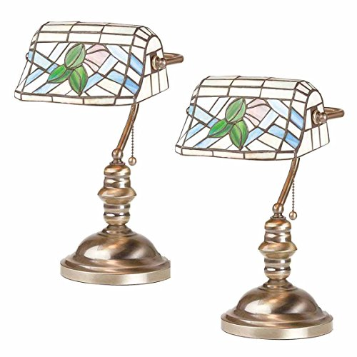 Bankers Lamp Solid Brass (2 Banker's Lamps Stained Glass Antique Brass Set Of 2)