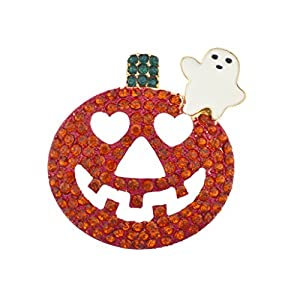 Lux Accessories Halloween Happy Jack-O-Lantern Orange Ghost Pumpkin Brooh Pin