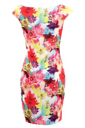 Branded Saphir Damen Multifarben Ärmellos Stretch Bodycon Blumenmuster Damen Kurzes Kleid Weiße Blumen IVhBteE