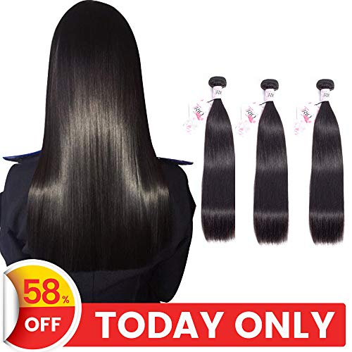 TRIO Mink Brazilian Straight Virgin Hair 3 Bundles 100% Unprocessed Remy Human Hair Weaves 8A Hair Extensions Natural Black Color (22 24 26)