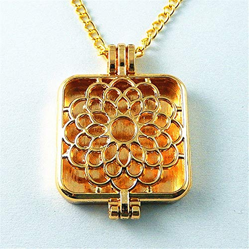 (70cmGolden Silver Alloy Hollowed Square Web Locket Necklace Pendant Oil)