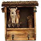 """Comfy Hour 10"""" Farm Animals Hand Carved Wooden Double Coat Hooks Clothes Rack Decorative Wall Hanger - Cow"""