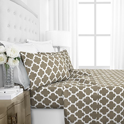 Egyptian Luxury 1800 Series Hotel Collection Quatrefoil Pattern Bed Sheet Set - Deep Pockets, Wrinkle and Fade Resistant, Hypoallergenic Printed Sheet and Pillow Case Set -Queen - Taupe