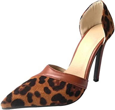 Amazon Com Cealu Women S Sexy Leopard Print D Orsay Pointed Toe