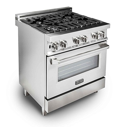 ZLINE 30 in. Professional 4.0 cu. ft. Gas Burner/Electric Oven Range in Stainless Steel (RA30) ()