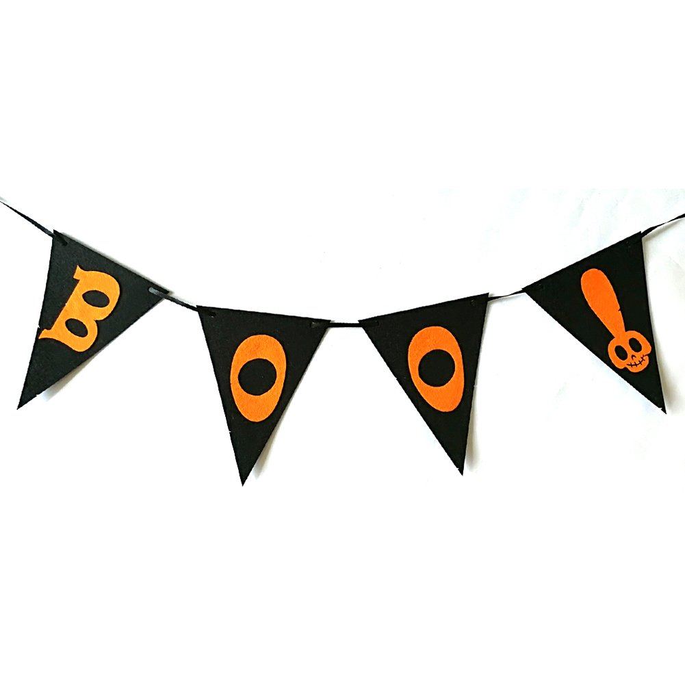 Slendima Fashion Boo Letters Skull Design Triangular Flags Halloween Party Banner Home Festival Decor Gift - 23.62'' Boo