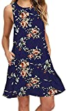 Summer Beach Dresses for Women Tshirt Sundresses Boho Casual Sleeveless Floral Shift Pockets Swing Loose Damask NBL Small