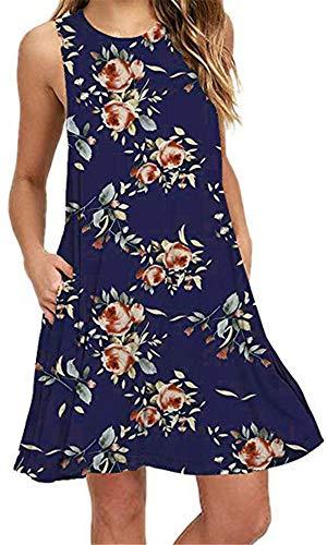 Summer Beach Dresses for Women Tshirt Sundresses Boho Casual Sleeveless Floral Shift Pockets Swing Loose Damask NBL Small