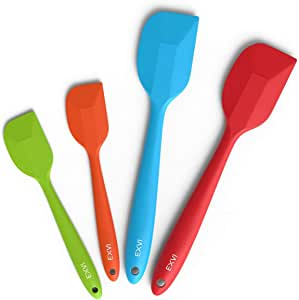 EXVI 4-Piece Heat Resiatant Silicone Spatula Set Non-Stick Rubber Spatulas Scraper with One Piece Solid Stainless Steel Core Design for Baking or Cooking