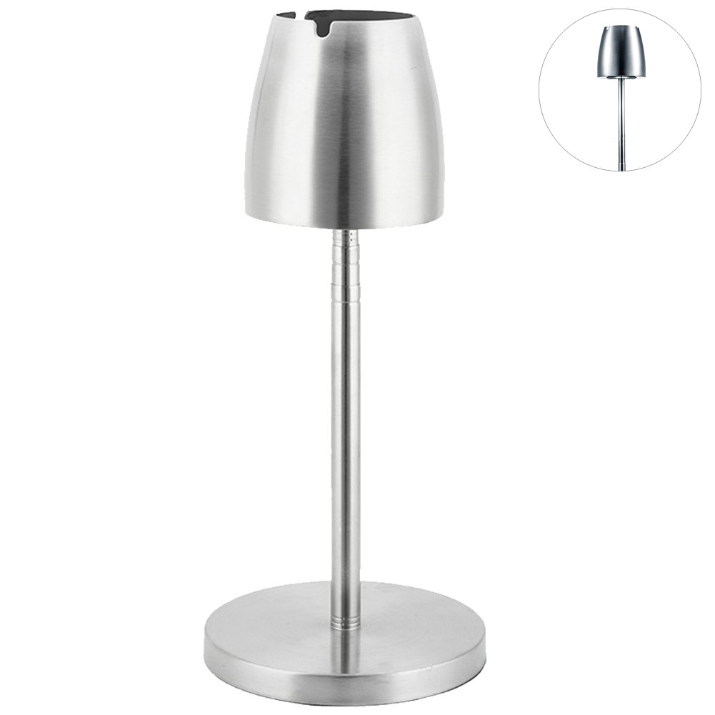 Ozzptuu Stainless Steel Adjustable Floor Standing Cigar Ashtray Creative Portable Ash Tray for Home/Office/Hotel/Bar Decor