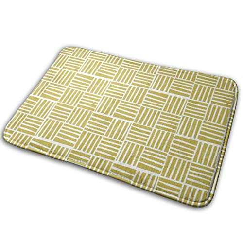 - prrey Thatch Fabric - Hand Printed Fabric, Linocut Home Decor Fabric, Stripes Fabric, Grid Fabric, Mustard Entrance Mat Indoor/Outdoor/Front Door/Bathroom Mats 23.6(L) x 15.7(W) inch