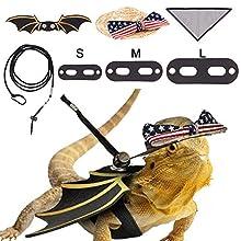 LIKZINWA Bearded Dragon Leash Lizard Harness and Belt Hammock National Flag Hat 7 pc Set, Adjustable Amphibian and Other Small Pet Reptile Harness (S, M, L )+ 1 Straw Hat + 1 Hammock
