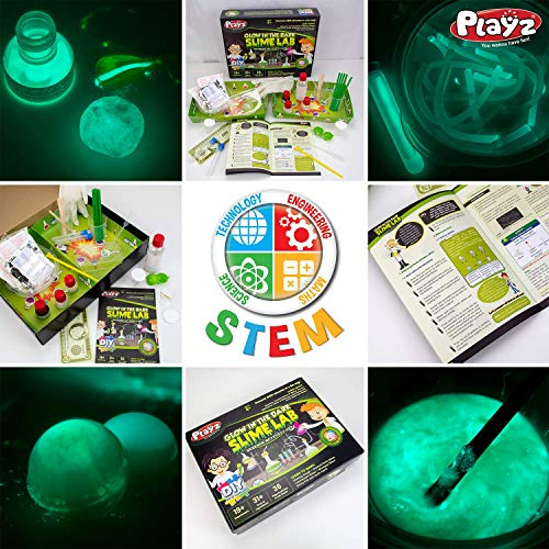 Playz Glow in The Dark Slime Lab Science Kit w/ 19+ Experiments to Make Glowing Dough, Scented Fluffy Slime, Luminescent Blood, Shampoo Slime, & Sticky Fish Through Gooey Science Activities by Playz (Image #4)