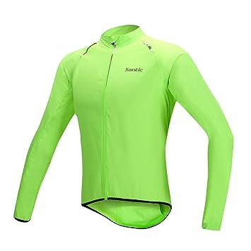 SANTIC Ciclismo Bicicleta de montaña Ropa Transpirable Chaqueta Impermeable de los Hombres de Secado rápido Resistente al Viento Abrigo de Piel con Capucha ...