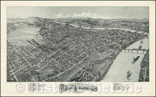 (Historic Map   Parkersburg West Virginia, 1899, T.M. Fowler v1 71in x 44in)