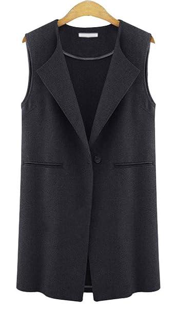 Women Ladies New Sleeveless Crepe Open Waterfall Waist Coat Jacket UK Plus SIze