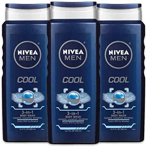 NIVEA Men Cool 3-in-1 Body Wash - Shower, Shampoo, and Refresh With Cooling Icy Menthol - 16.9 fl. oz. Bottle (Pack of 3)