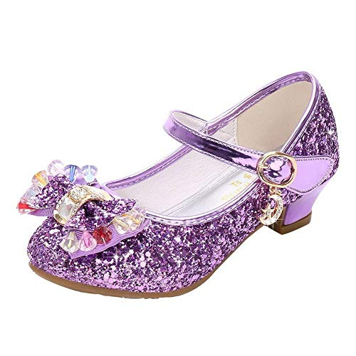 Kinkie Kids Girls Mary Jane Flats Wedding Party Shoes Glitter Sequins Uniform School Ballerina Shoes Purple 3 M US Little Kid