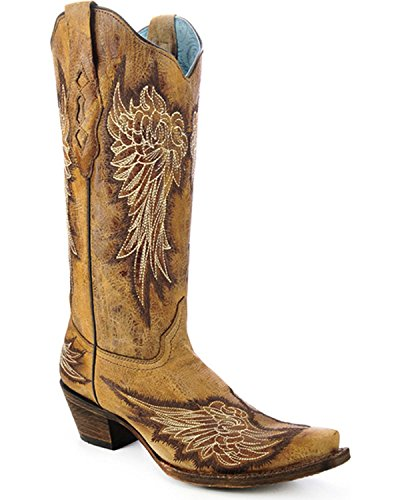 CORRAL Womens Wing Cowgirl Boot Snip Toe - A3048 Antique Saddle