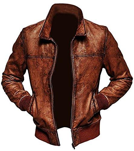 Cafe Racer Jacket Vintage Motorcycle Retro Moto Biker Distressed Leather Jacket (Small, Distressed Bomber Leather (Distressed Leather Bomber)