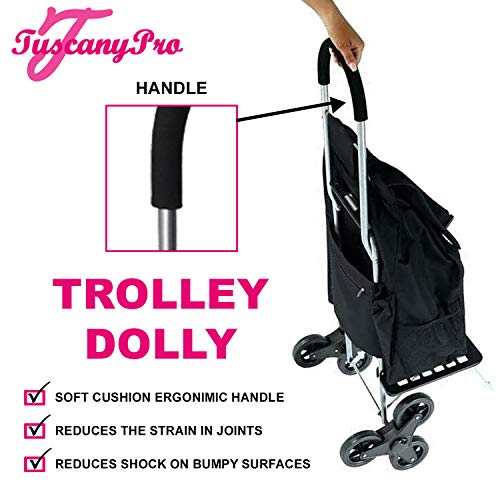 TuscanyPro Hairstylist Cart with Staircase Climber Wheels - Unique Folding Trolley Dolly & A Hairstylist Bag - US Patented - 10 Years Warranty - Personalize with Name/Logo
