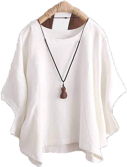 Keepbest - Camiseta de Manga Corta para Mujer (algodón y Lino ...